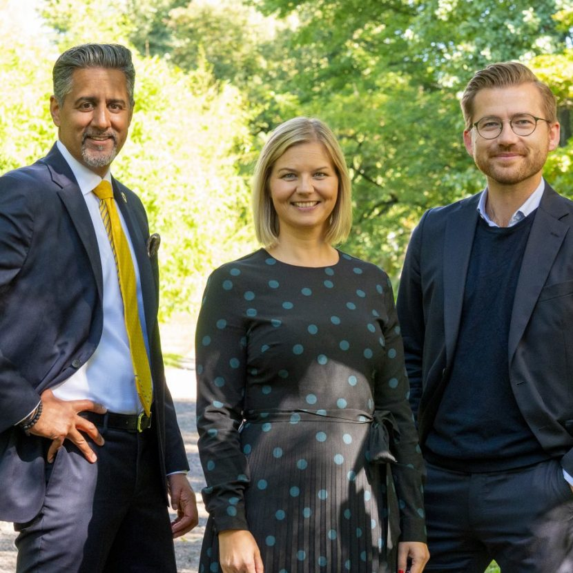 Venstres ledertrio: Abid Raja, Guri Melby og Sveinung Rotevatn.