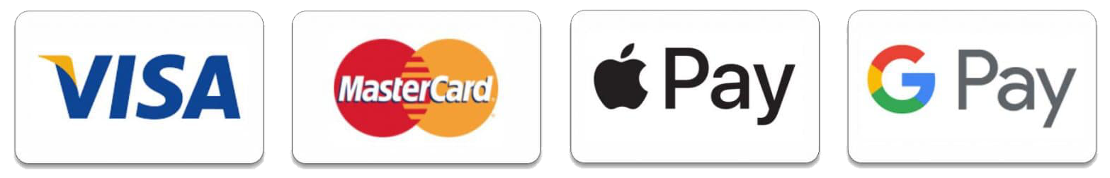 Visa, MasterCard, Apple Pay og Google Pay