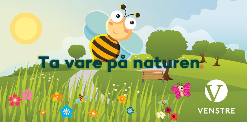 Ta vare på naturen - bildegrafikk av bie i fargerik natur - link til temaside om miljø og natur