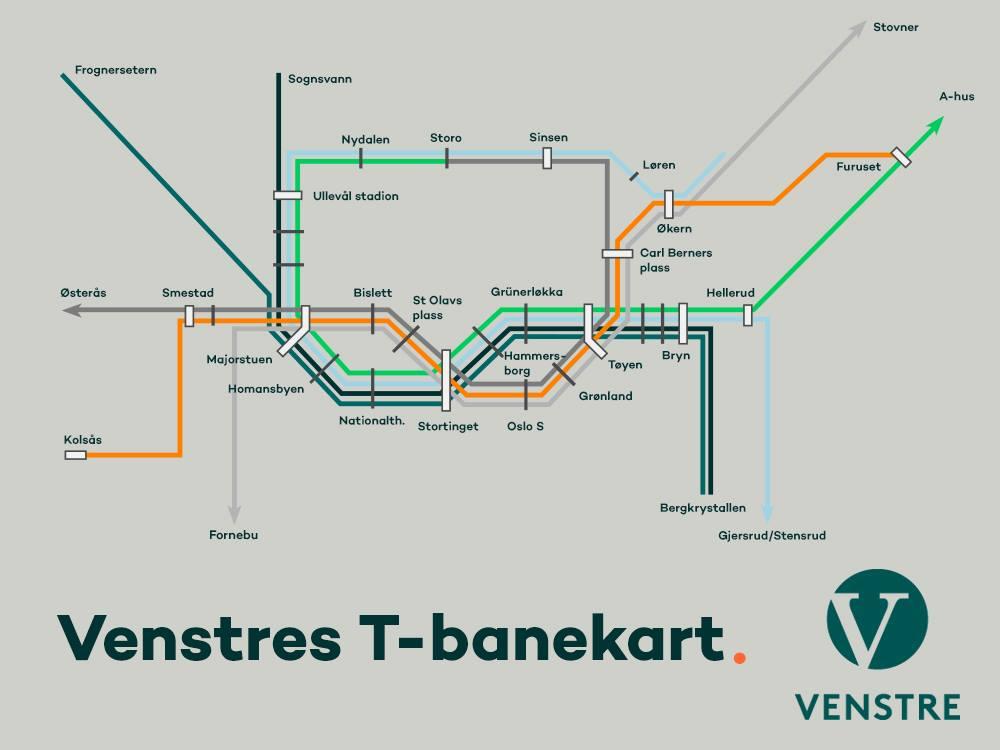 t bane kart oslo 2015 Venstres T banekart   Nordre Aker Venstre t bane kart oslo 2015