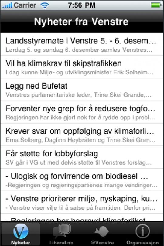 iphone nyheter fra Venstre