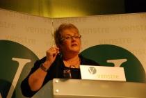 Trine Skei Grande på talerstolen under Venstres landsmøte 2010.