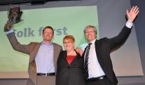 Den nye ledertrioen i Venstre: Terje Breivik, Trine Skei Grande og Ola Elvestuen.