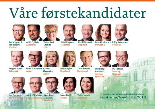 Venstres stortingskandidater til Valg 2013